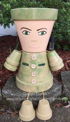 US Army Navy Soldiers Planter Pot Person Pot by GARDENFRIENDSNJ
