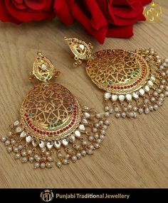 Jewelry OFF! Complete the look with these pretty earrings from PTJ Indian Jewelry Earrings, Jewelry Design Earrings, Gold Earrings Designs, Indian Wedding Jewelry, India Jewelry, Gold Jewellery Design, Bridal Earrings, Jewelry Sets, Bridal Jewelry