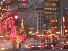 Avenue McGill College with Christmas Decor, Montreal, Quebec, Canada Photographic Print by Walter Bibikow at Art.com
