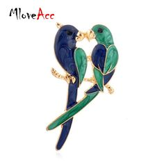 2016 Vintage New Fashion Dual Bird Kiss Love Parrot Brooches Cute Animal Epoxy Alloy Gold Brooches & Pins For Women Gifts