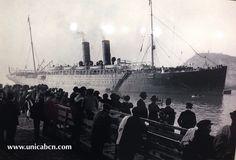 Vapor Alfonso XII de la Cia. Trasatlántica Española entrando a la Dársena del Comercio (Barcelona). 1910. Procedencia: CDM-MMB
