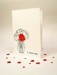 Valentines Day card - I Love You blank card - hand drawn on Etsy, $4.36