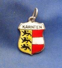 Vintage 800 Silver & Enamel Travel Shield Charm KARNTEN (Germany)