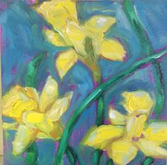 Original Oil Painting Monet Daffodils Spring Flower Garden 6x6 on board on Etsy, $42.00