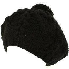 Handknit Chunky Knit Winter Beret Knit Tam Hat Black SK Hat shop. $9.95