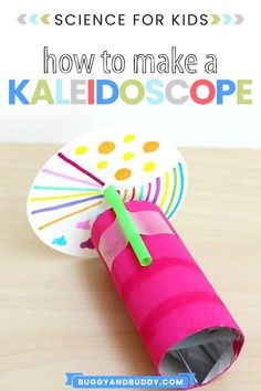 This DIY kaleidoscope using a toilet paper roll is a fun science activity and craft that teaches all about light, symmetry and reflection in a hands-on way. Creative Activities For Kids, Easy Crafts For Kids, Science For Kids, Toddler Crafts, Preschool Activities, Diy For Kids, Stem Science, Summer Activities, Steam Activities