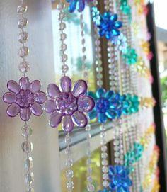 Rainbow Daisy Beaded Curtain -- Flowers