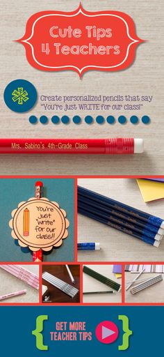 "LOVE this teacher idea! Personalize pencils with your classroom name or the kids names and use card that says ""You're just WRITE for our class!"" ... so cute! This site has TONS of other great teacher gift ideas, too!"