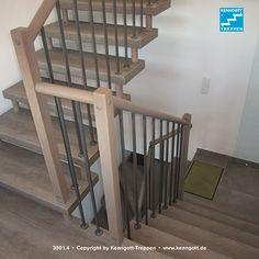 Freitragende KENNGOTT-TREPPE Verdi, Stufen Eiche Trendline Longlife Rutschhemmung R9. Runder, griffsicherer Handlauf in Holz mit einteiligen Geländerstäben in Stahl atlasmetallic. Die KENNGOTT-TREPPE ist eine selbsttragende Konstruktion, die ohne Wangen oder tragende, groß dimensionierte Handlaufholme auskommt. Das Treppenauge ist frei und transparent. Dadurch wirkt diese Treppe leicht, beinahe schwebend. Mehr dazu unter: http://www.kenngott.de/de/treppen/kenngott-treppen.html