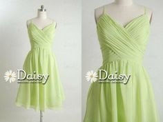 Green bridesmaid dress - view the whole apple-green and light pink colour scheme at http://themerrybride.org/2014/03/20/apple-green-and-light-pink-wedding/