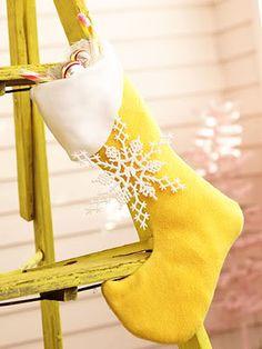 Yellow Christmas stocking