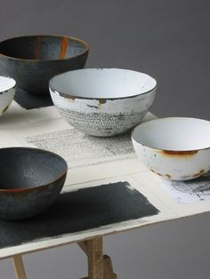 Helen Carnac An Internationally acclaimed enameller – she works with vitreous enamel on steel – it is the type of enamel used for domestic 'white wear' – including baths, sinks, pots and pans.