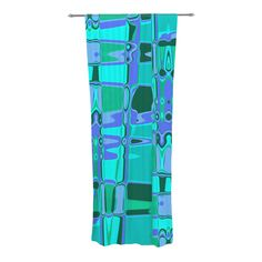 """Vikki Salmela """"Changing Gears"""" Decorative Sheer Curtain from KESS InHouse #new #graphic #bue #aqua #geometric #modern #art on #sheer #curtain panels for #windows #room #dividers #home #decor #fashion #accessory for #apartment #office by #vikkisalmela at #KessinHouse."""