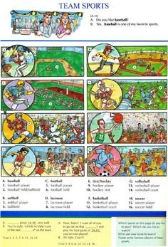 100 - TEAM SPORTS - Pictures dictionary - English Study, explanations, free exercises, speaking, listening, grammar lessons, reading, writing, vocabulary, dictionary and teaching materials