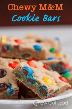 Chewy M&M Cookie Bars.  Perfect for sharing, giving, and just because I've got a chocolate craving. #dessert #recipe