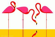 Geometric flamingos  #FlamingoArtPaintingPicturePoster