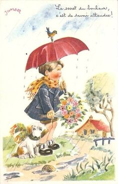 "vintage Janser card - ""The secret to happiness is knowing how to wait."""