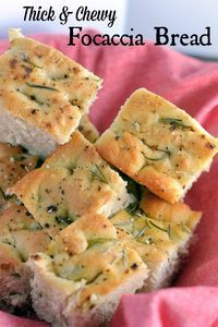 Thick and Chewy Focaccia Bread - a super easy for the perfect focaccia bread topped with sea salt and herbs.