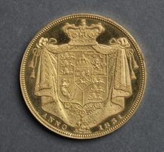 Two Pounds [pattern] (reverse), 1831 designed by J. B. Merlen (British), designed by William Wyon (British)  gold