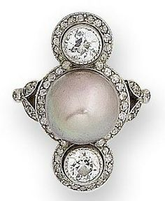 A belle époque pearl and diamond ring, circa 1910 The central pearl, of pale aubergine tint, between two millegrain-set old brilliant-cut diamonds, all within a single-cut diamond surround, the gallery with delicately engraved floral decoration, to diamond-set bifurcated shoulders of foliate design.