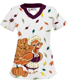Unless of course I'm feeling like it would be a good day to wear themed scrubs. welcome to thanksgiving in the health care world. Hipster Shirts, Cool T Shirts, Pediatric Scrubs, White Scrub Tops, Healthcare Uniforms, Stylish Scrubs, Work Uniforms, Nursing Uniforms, Cute Scrubs