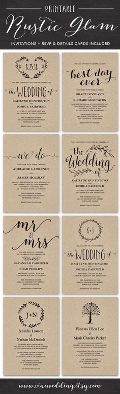 Rustic Wedding Invitations Printable DIY Invitation