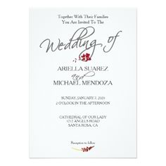 Romantic Scarlet Red Floral Wedding Invitation - calligraphy gifts custom personalize diy create your own Modern Wedding Invitations, Wedding Invitation Templates, Custom Invitations, Romantic Wedding Gifts, Invitation Card Design, Wedding Preparation, Red Gifts, Our Lady, Scarlet
