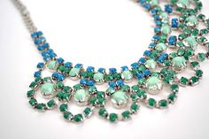 mint necklace final 2 using bright nail polish on purchased rhinestone necklace