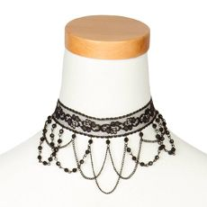 Black Lace Choker with Crystals and Chain Swag