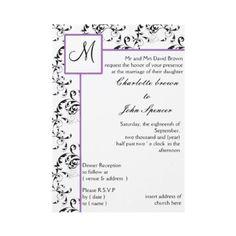 purple #Monogram #wedding #Invitation