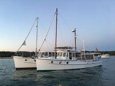 """Ellen R"" - Norman Wright. Saint Helena Island, Ocean Cleanup, Floating Homes, Deck Boat, Yacht Boat, Boat Design, Motor Boats, Wooden Boats, Boating"