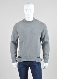 Men's Givenchy Grey Wool Cut Out Hem Crew Neck Pullover Sweater