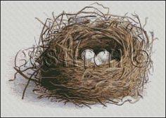 VINTAGE  Bird nest WITH EGGS cross stitch pattern No202 by glenniz, $4.99