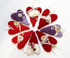 a lot of hearts, crocheted