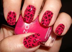 I love these PINK nails!  I have a color similar to this, and I wear it all of the time, minus the leopard print. :)