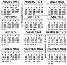 13 Best Calendars Thru The Years Images Calendar Birthday Party