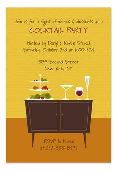 Retro Cocktails - Party Invitations by Invitation Consultants. (Item # IC-GD-KC-1 )