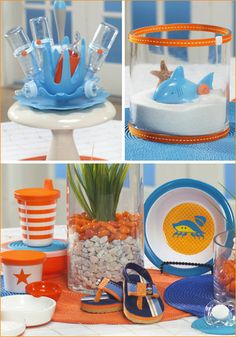 There's a brand new party theme up in our Baby Showers section today - a Beach Baby Shower, which completely was inspired by an adorable Sea… Shower Party, Baby Shower Parties, Baby Shower Themes, Baby Boy Shower, Baby Shower Decorations, Baby Shower Gifts, Shower Ideas, Birthday Decoration Items, Beach Baby Showers