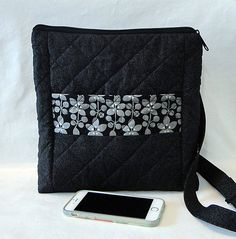 Crossbody Strap, Black, Abigail Bag, Quilted Bag, Woman's Bag, Zipped Bag, Cell Phone Pocket, Kindle Pocket by rosemontbags on Etsy