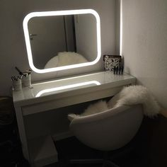 Malm Dressing Table Amp Storjorm Lighted Mirror Ikea