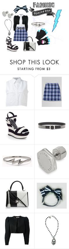 """""""Monster high inspired fashion: Frankie Stein"""" by ida-mccosh ❤ liked on Polyvore featuring KIMEM, Lands' End, Alice + Olivia, B-Low the Belt, Forever 21, Marc by Marc Jacobs, Mark Cross, Yves Saint Laurent and Rock Rebel"""