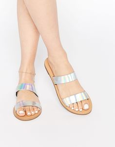 New+Look+Holographic+Two+Strap+Sandal