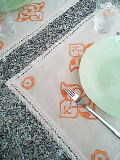 35x45cm Orange Hand Block Printed Cream Placemat Ottoman and Floral Prints Authentic Traditional Handcrafted Turkish Lace Trimmed by JIJIMA on Etsy