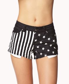 Stars & Stripes Denim Cutoffs | FOREVER21 #AmericanFlag #Summer #FourthOfJuly #MustHave #BlackAndWhite