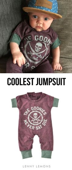 The perfect cool jumpsuit! Goonies never say die ;) Trendy color and prints! Buttons along back. Coolest gift for a baby boy. Lenny Lemons. #lennylemons #babyboy