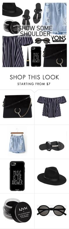 """Yoins: Shimmy, Shimmy: Off Shoulder Tops"" by dora04 ❤ liked on Polyvore featuring Chloé, Casetify, Lack of Color, NYX, Yves Saint Laurent, Christian Louboutin, yoins, yoinscollection, loveyoins and showsomeshoulder"