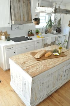 Rustic White Kitchen Ideas maple and walnut butcher block - brooks custom brookscustom