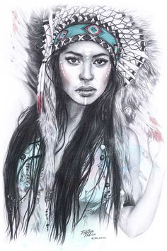 Indian on Behance Native American Drawing, Native American Tattoos, Native Tattoos, Native American Headdress, Native American Girls, Native American Paintings, Dream Catcher Native American, Native American Pictures, Native American Beauty