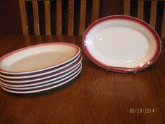 """Vintage Set Of Seven (7) Homer Laughlin 9 1/2"""" Platters - Burgundy Fade Rim"""