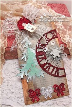 Nice tag by Linda Coughlin -  I love the clock with UTEE.  Also uses the snowflake rosette.    http://thefunkiejunkie.blogspot.com/2012/10/challenge-12-tags-of-christmas-funkie_22.html#  The Funkie Junkie: Challenge: 12 Tags of Christmas - Funkie Junkie Style - Week #6